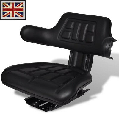 Adjustable Tractor Seat with Backrest Black Arm Rest Waterproof Forklift Replace