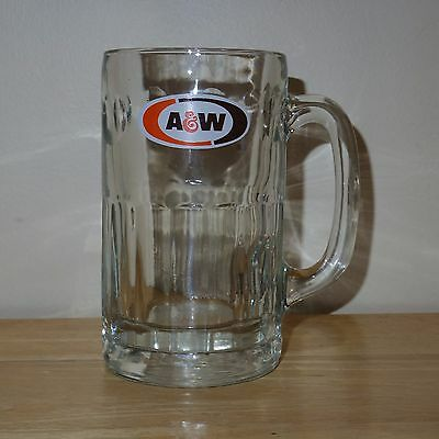 """Vintage A & W Root Beer Mug Heavy Glass with Thumbprint Design 6"""" Tall - Used/GC"""