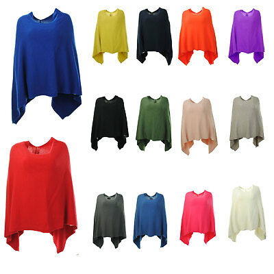 New Womens Italian Angora Wool Mix Knitted Quirky Lagenlook Draped Poncho Cape