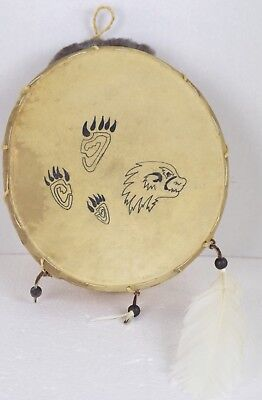 Bear Power/Native American Drum,Painted By The Zunis Tribe 9x9