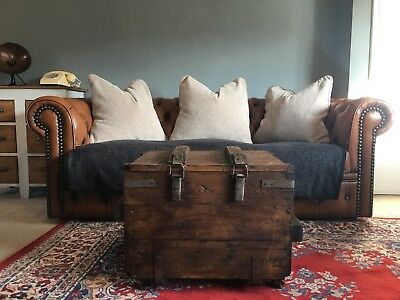Vintage pine wooden Trunk Chest box Rustic Industrial Coffee table antique