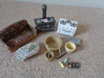 Sylvanian Families  Furniture Sofa Stove Bucket Broom bucket Tub Iron Bundle