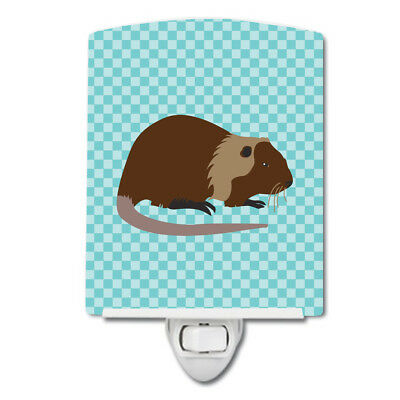 Coypu Nutria River Rat Blue Check Ceramic Night Light