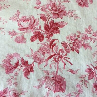Antique FRENCH BED HEAD SLIPCOVER Pink JOUY TOILE Roses Bird Cage Ribbons PIECED