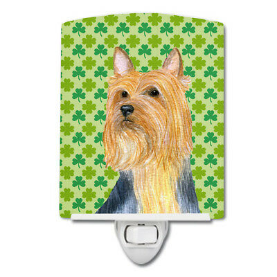 Silky Terrier St. Patrick's Day Shamrock Portrait Ceramic Night Light