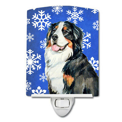 Bernese Mountain Dog Winter Snowflakes Holiday Ceramic Night Light