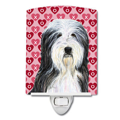Bearded Collie Hearts Love and Valentine's Day Portrait Ceramic Night Light