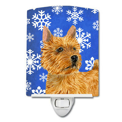 Norwich Terrier Winter Snowflakes Holiday Ceramic Night Light