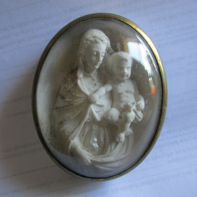 Antique 19thC French Miniature Shadowbox Madonna & Child, Hand Carved