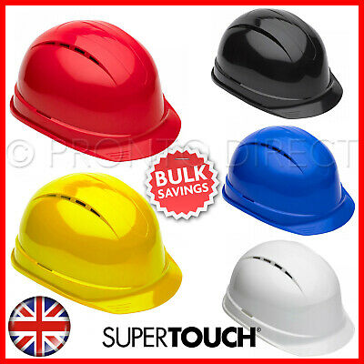 Vented Safety Helmet Hard Hat 8 Point Harness Construction Industry SUPERTOUCH