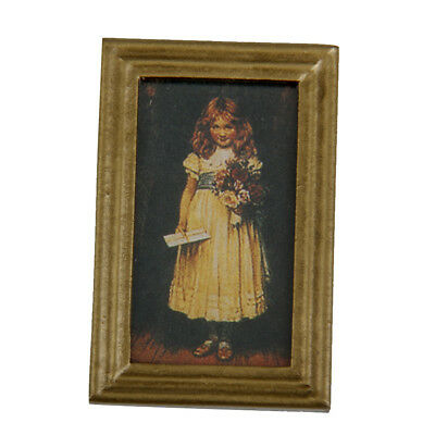 Dollhouse Miniature 1:12 Resin Frame Cute Girl Mural Wall Painting Picture