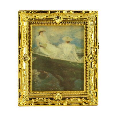 12th Dollhouse Miniature Gold Framed Boating on Lake Painting Wall Decor