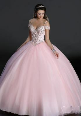 Hot Pink Ball Gown Sweet 15 Quinceanera Dresses Prom Party Pageant Wedding Dress