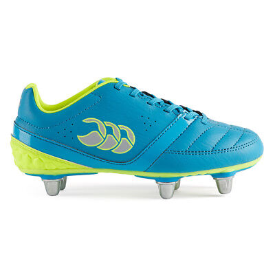 Canterbury CCC Kids Phoenix Club 6 Stud Rugby Boot Atomic Blue Safety Yellow