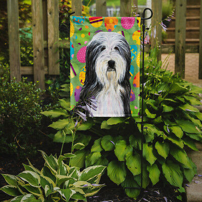 Carolines Treasures  SS4842GF Bearded Collie Easter Eggtravaganza Flag Garden Si