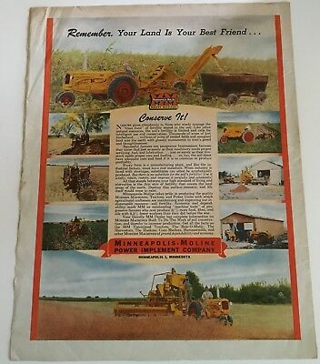 1947 Minneapolis Moline Advertising Tractor  Combine Cappers Farmer magazine ad