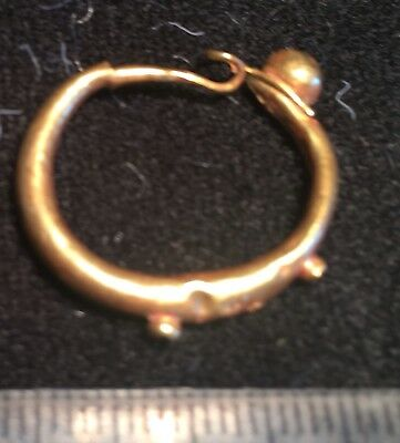 GOLD EARRING Ancient ROMAN , Large Men's loop, high kt 200BC - 200AD