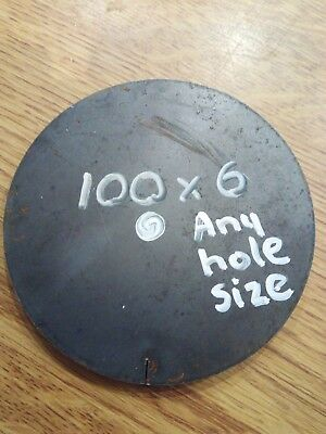 100 x 6mm Thick Mild Steel Disc With 40mm Hole