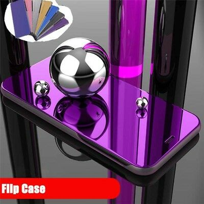 Luxury Mirror Window View Flip Leather Case Cover For Samsung Galaxy S6 S7 S8 S9