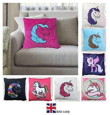 "16"" UNICORN CARTOON PILLOW CASE Sofa Cushion Cover Throw Home Decor Kids Gift UK"