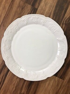 """Indiana Colony Milk Glass Opaque White Harvest Grape 14"""" Serving Tray Platter"""