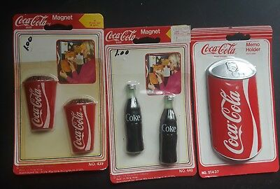 Set Of 3 Coca-Cola Magnets Bottles Cups Cans 1985 1991 Memo Holder Refrigerator