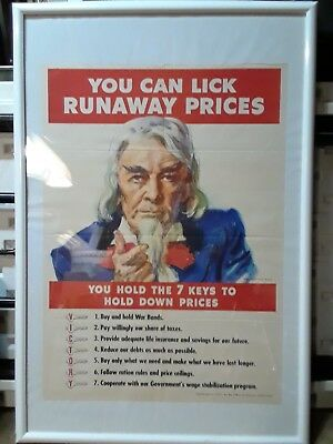 WW 2 Poster Original Uncle Sam James Montgomery Flagg You Can Lick Runaway...