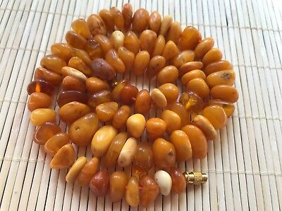 Old Geniune Natural Antique Baltic Vintage Amber jewelry stone Necklace nice