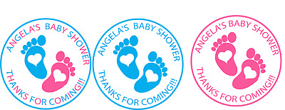48 x BABY SHOWER PERSONALISED STICKERS LABELS PARTY ROUND FAVOURS BLUE PINK