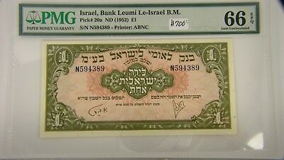 1952 Israel 1 Pound Bank Leumi Banknote Pick 20a PMG 66 Gem Uncirculated EPQ