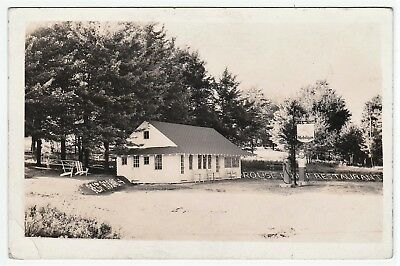 RARE Real Photo Gas Station Rouse Point Restaurant Dushore Cherry PA 1920s RPPC
