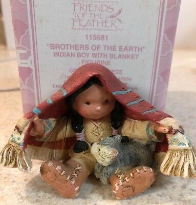 Enesco Friends of the Feather Brothers Of Earth Indian Boy Blanket Wolf Pup MIB