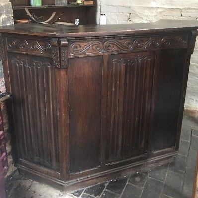 Beautiful Antique Oak Hand Carved Home Bar Drinks