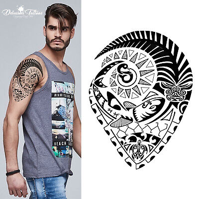 Tribal Temporary Tattoo Maori Oceanic Fish Turtle Polynesian Black Mens Womens