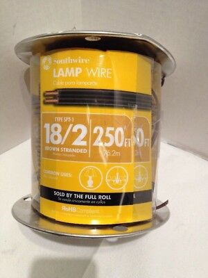 Southwire 18/2 SPT-1 300 volts Lamp Cord Wire 250 ft. L Brown