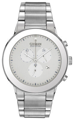 Citizen Eco Drive Men's Chronograph White Dial Bracelet 43mm Watch AT2240-51A