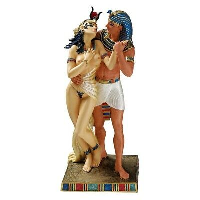 Ancient Egyptian Art Dansing Pharaoh and Nude Queen Statue Figurine