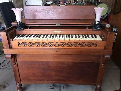 Beautiful antique melodian/melodeon-portable organ-electrified for playing ease