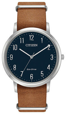 Citizen Eco Drive Men's Blue Dial Brown Leather Band 40mm Watch BJ6500-12L