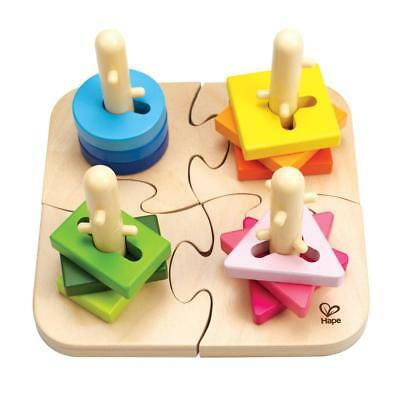 Creative Peg Puzzle - 12 Wooden Shape Pieces and 4 Peg Pieces - Motor Skills