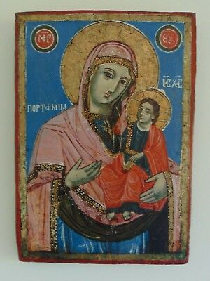 Antique Greek Orthodox Icon Venerating Our Lady of the Way (Hodegetria) w Christ