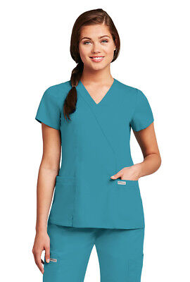 Grey's Anatomy Women's 41101 2 Pocket Mock Wrap Scrub Top New With Tags
