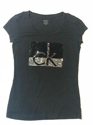 235b6eb7312 Calvin Klein T Shirt Womans XS Black   Silver with Sequin CK