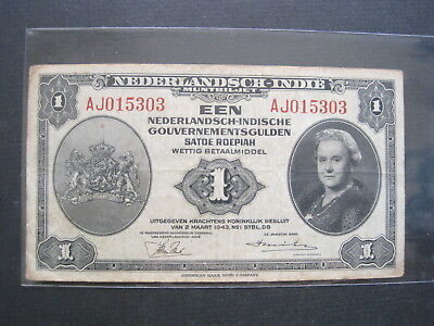 Netherlands East Indies 1 Gulden 1943 Indonesia 84# Bank Currency Banknote Money