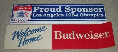 2 Vintage Budweiser Beer Bumper Stickers (1984 Olympics,Welcome Home)
