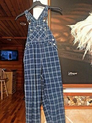CHEROKEE DENIM OVERALLS BIBS PLAID GIRL'S SIZE M 7-8 NEW W/O TAG VINTAGE 90's