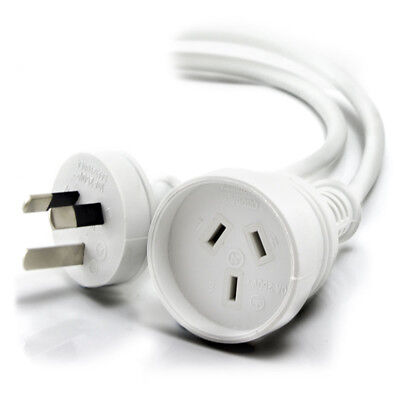 New ALOGIC 15m Aus 3 Pin Mains Power Extension Cable WHITE Male to Female Free S