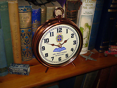 """Air Transport Auxiliary Service """"ATA"""" Mantle Clock, WW2 Retro Vintage Dial."""