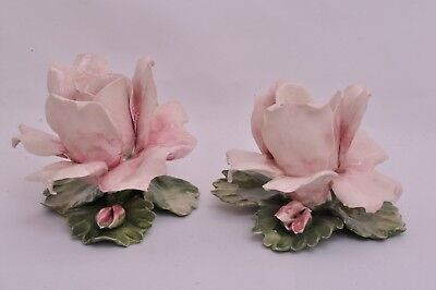 Vintage, Capodemonte, Candle Holders. Set of two, Pink roses with Green Leaves