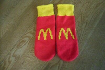 RARE Vintage NOS Pair of McDonald's Youth Large Knit Mittens = NEW